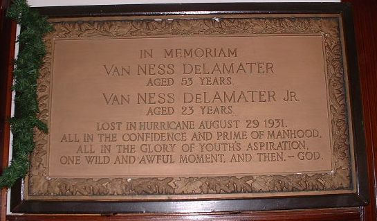 Tablet reading: In Memoriam, Van Ness DeLameter aged 53 years, 