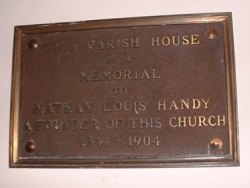 Tablet reading: This Parish House is a Memorial to Nathan Louis Handy